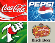 Coke, Pepsi, 7-up, PA Dutch Birch Beer